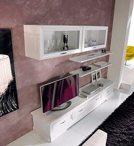 Exclusive parete attrezzata, Mobile componibile da salotto, in legno bianco