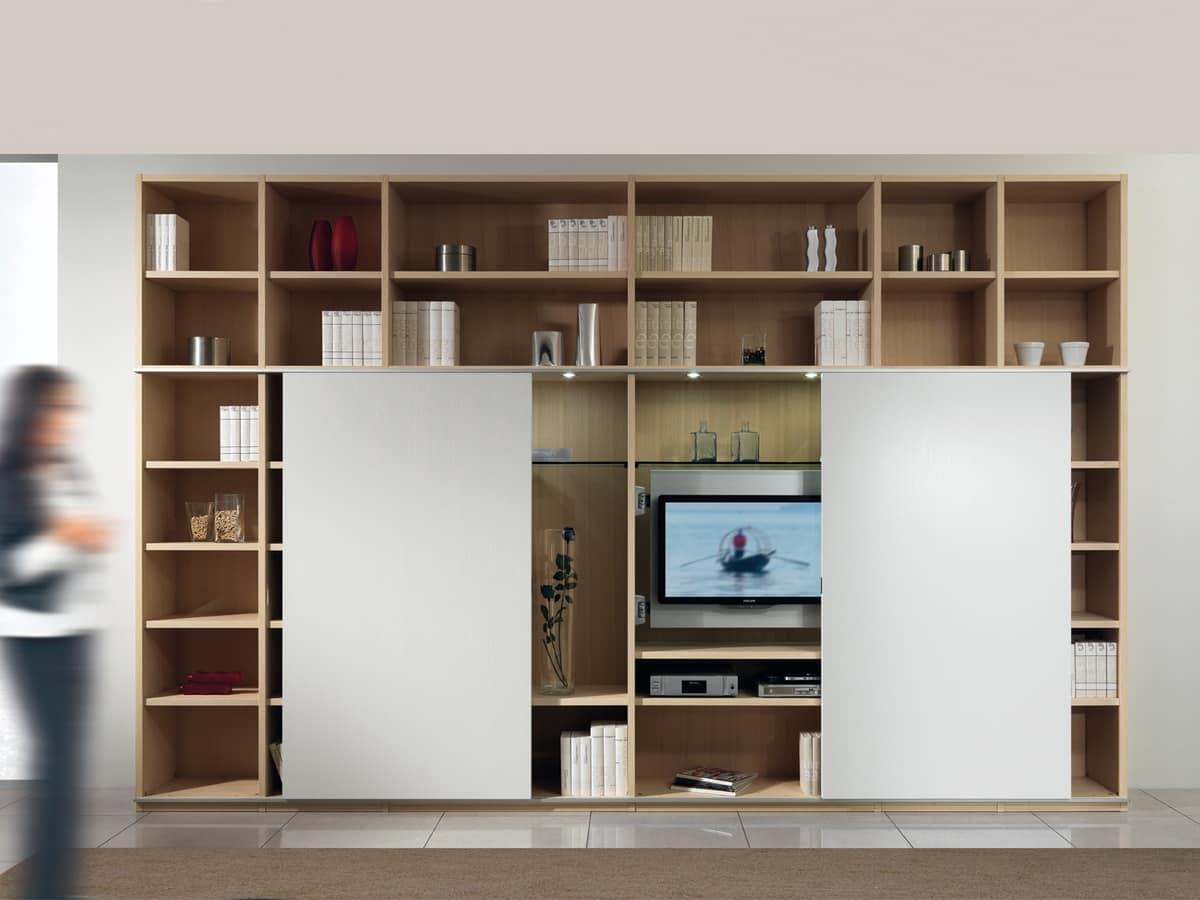 Struttura componibile con libreria e porta tv, 2 porte scorrevoli  IDFdesign