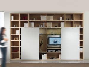 Giorno Libreria 01, Struttura componibile con libreria e porta tv, 2 porte scorrevoli