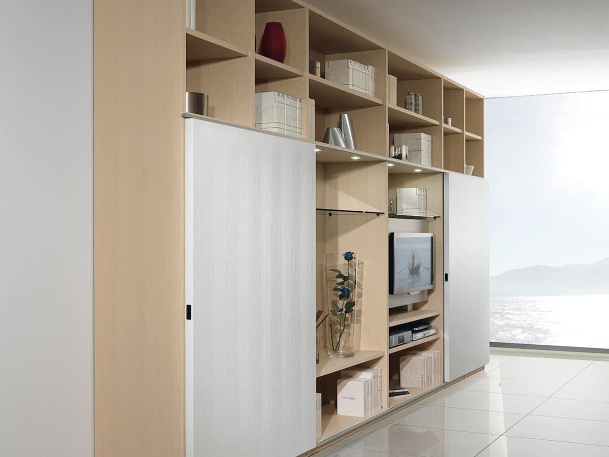 Affordable giorno libreria struttura componibile con libreria e porta tv porte scorrevoli with - Libreria con porta scorrevole ...