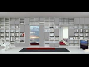 Giorno Libreria 15, Arredo modulare con forme essenziali, per soggiorni