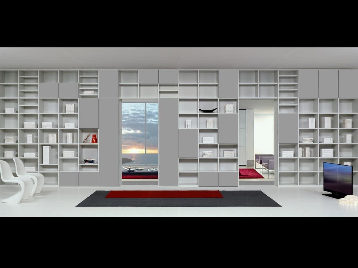 Arredo modulare con forme essenziali per soggiorni for Mobili contenitori design