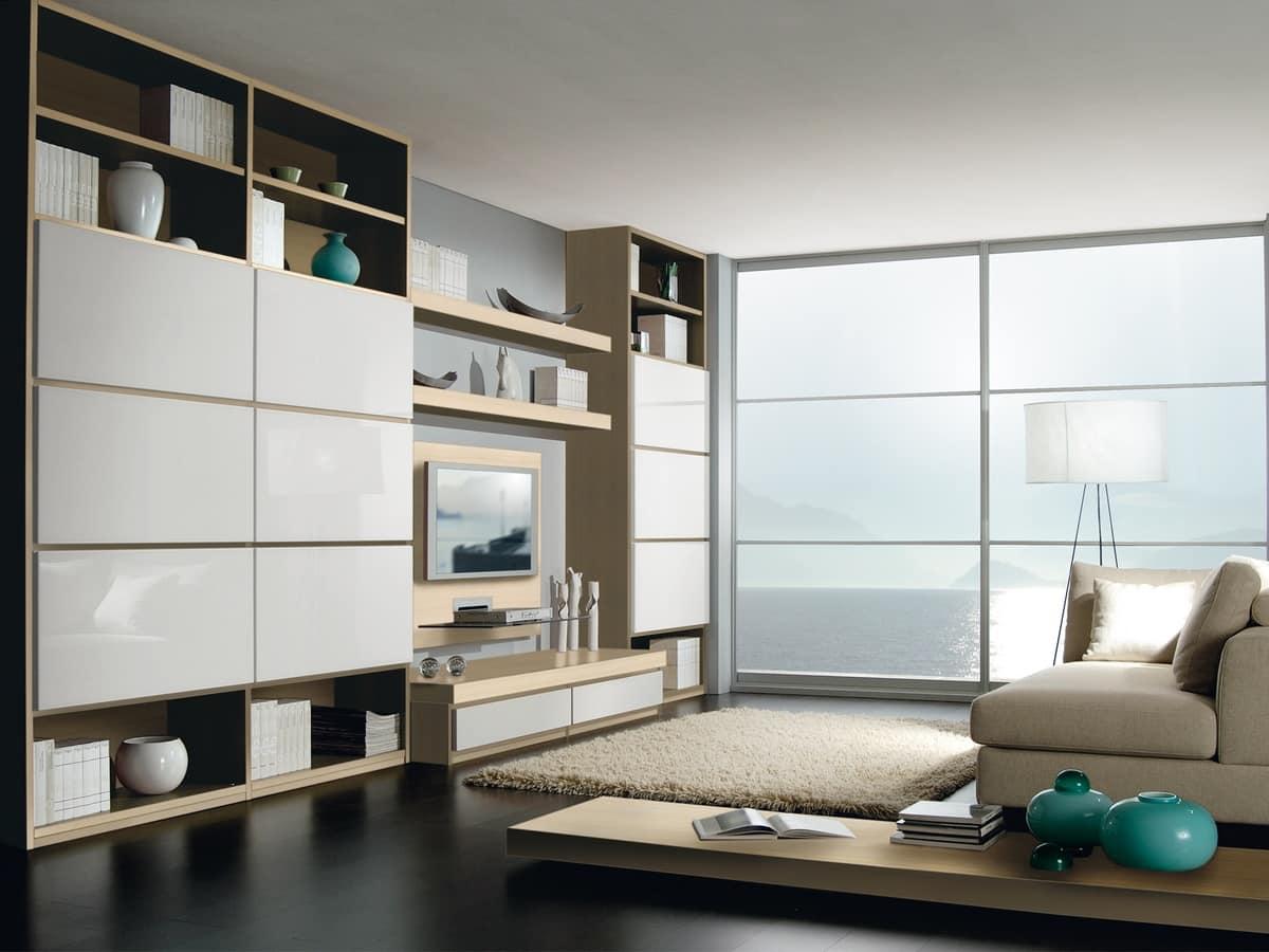 Sistema componibile per soggiorno e ufficio con libreria for Mobili per soggiorno