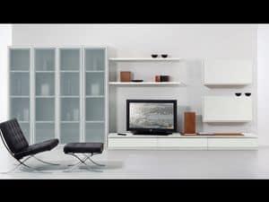Giorno Parete 05, Set di mobili per soggiorno, con vetrine e mensole