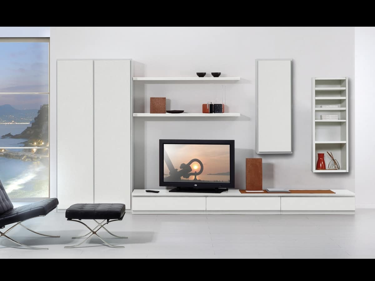 Set di mobili per soggiorno con vetrine e mensole idfdesign for Rivista di design e produzione di mobili