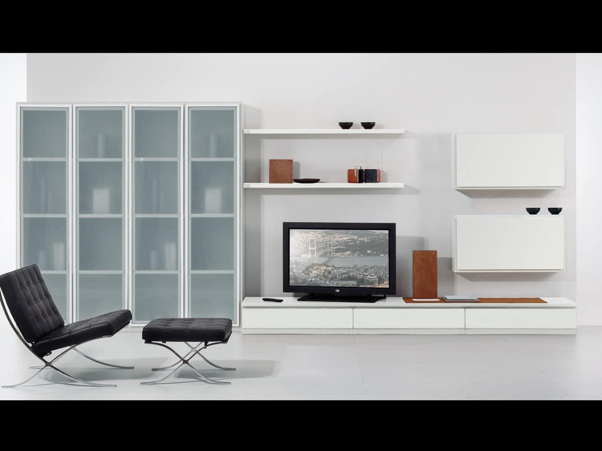 Set di mobili per soggiorno con vetrine e mensole idfdesign for Mobili soggiorno moderni ikea