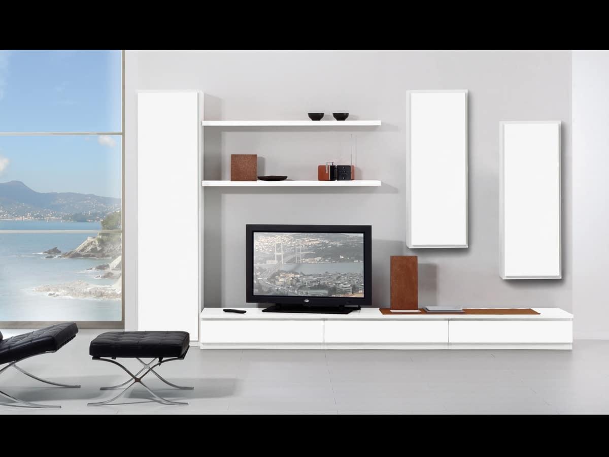 Set di mobili per soggiorno con vetrine e mensole idfdesign for Scuole di design di mobili