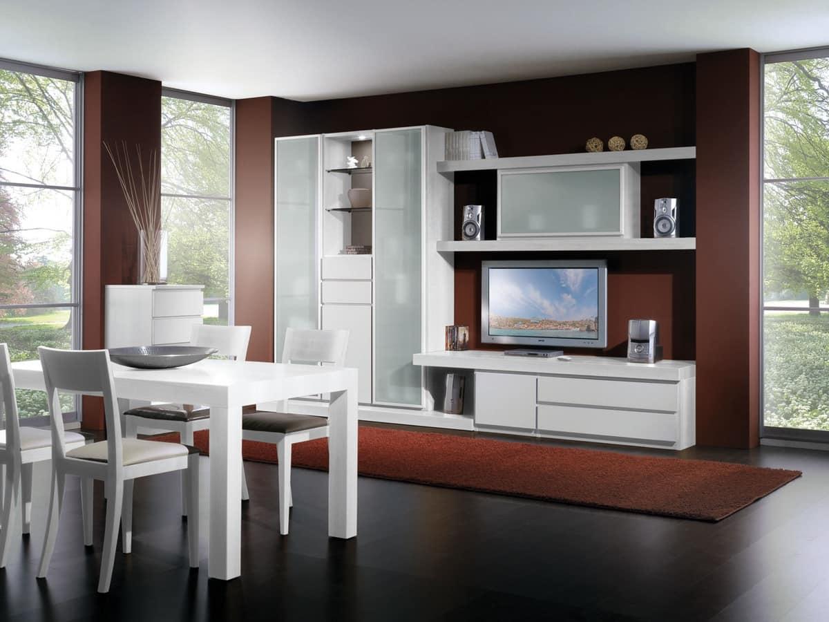 Set di mobili per soggiorno con vetrine e mensole idfdesign for Soggiorno living