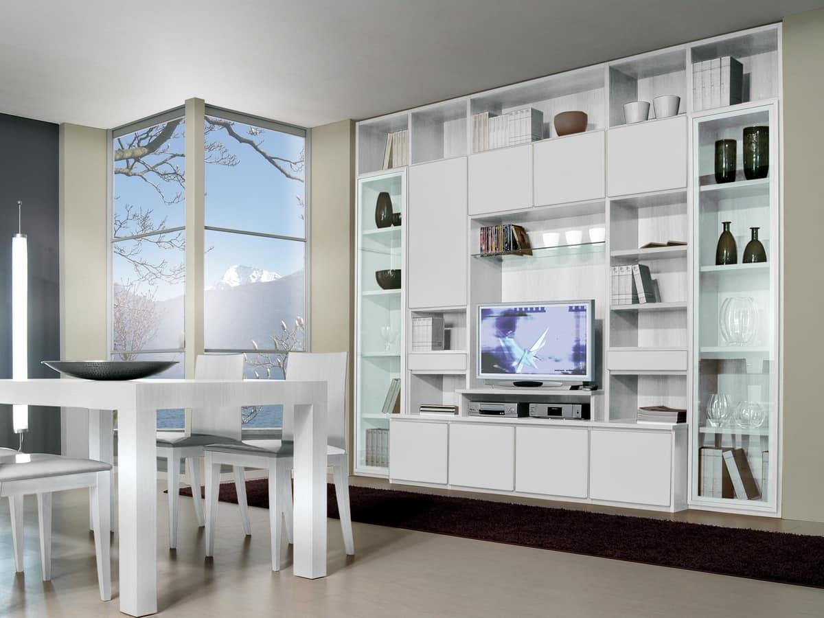 Parete 10 Sistema Modulare Per Saloto E Sala Da Pranzo Con Porta TV #4E687D 1200 900 Tappeti Moderni Per Sala Da Pranzo