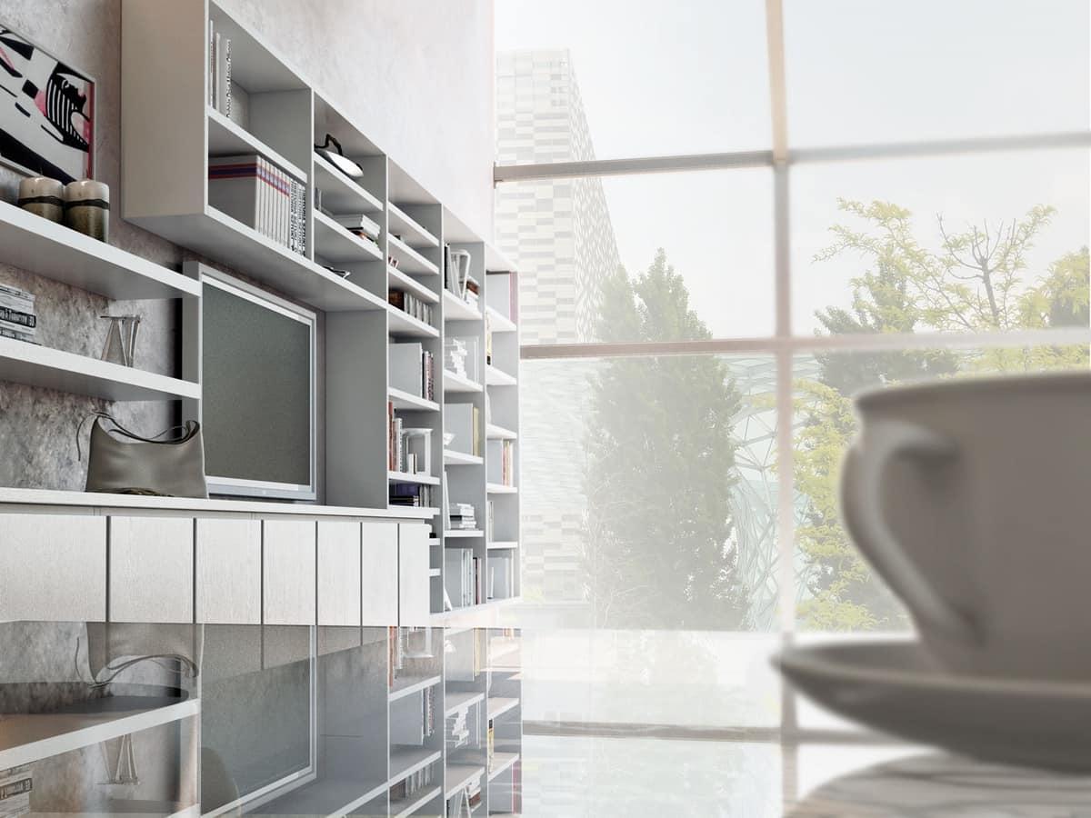 Sistemi componibili per soggiorno, con libreria e armadietti ...