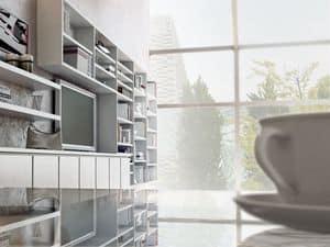 Giorno Sistemi 06, Sistemi componibili per soggiorno, con libreria e armadietti