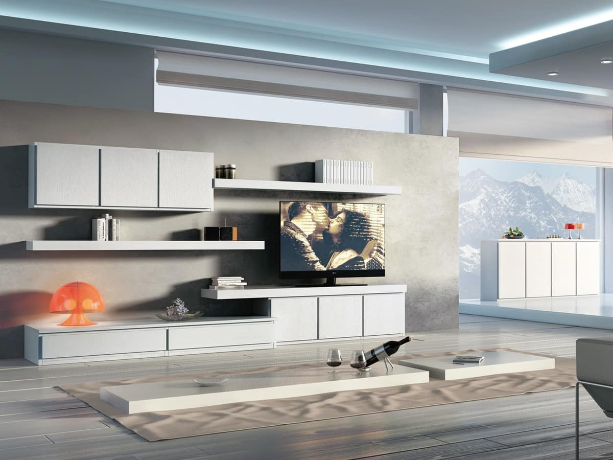 Complesso di mobili componibili per soggiorni moderni for Scuole di design di mobili