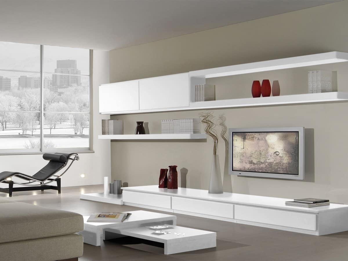 Sistema componibile per salotto con stile moderno idfdesign for Mobili salotto