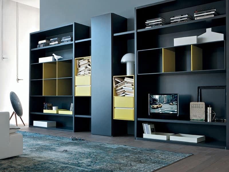 Libreria per soggiorno, mobile componibile per salotto | IDFdesign