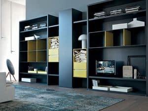 Habitat libreria, Libreria per soggiorno, mobile componibile per salotto