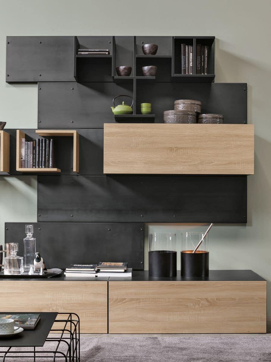 Iron composizione giorno ideale per salotti moderni for Mensole legno naturale