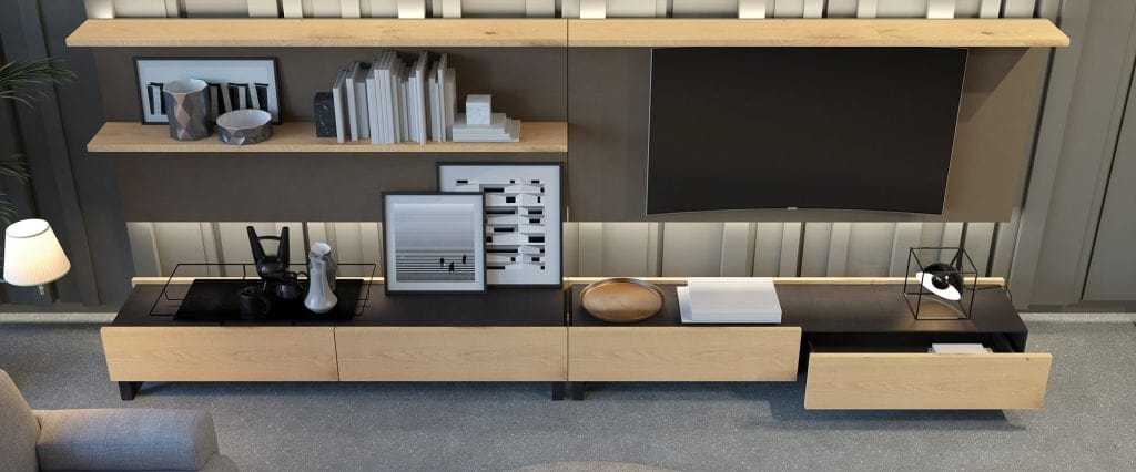 Mobile da soggiorno con porta tv e cassetti | IDFdesign