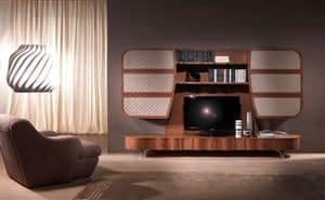LB28a Parete Mistral, Mobile multifunzionale in legno, per soggiorni moderni