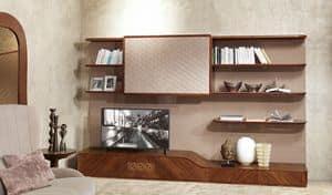 LB33 Desyo libreria, Mobile soggiorno con porta TV in stile contemporaneo