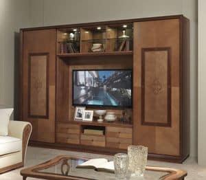 LB38 Charme, Mobile porta tv con libreria, in stile classico contemporaneo