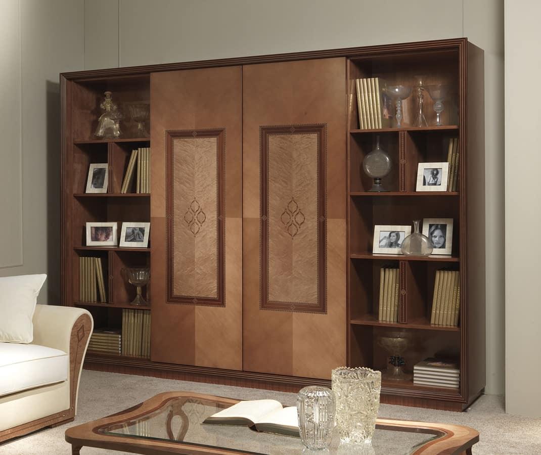 Mobile porta tv con libreria in stile classico for Mobile per soggiorno