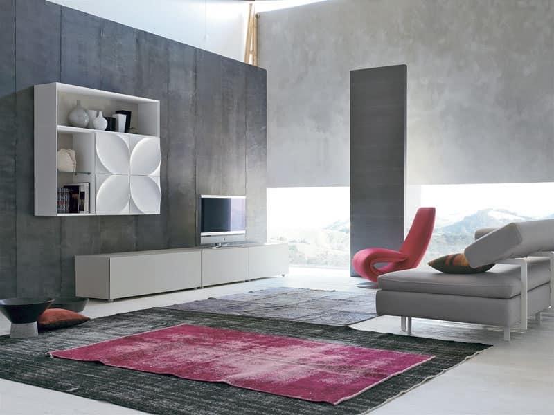 Mobile per salotto, con speciali decorazioni naturalistiche | IDFdesign
