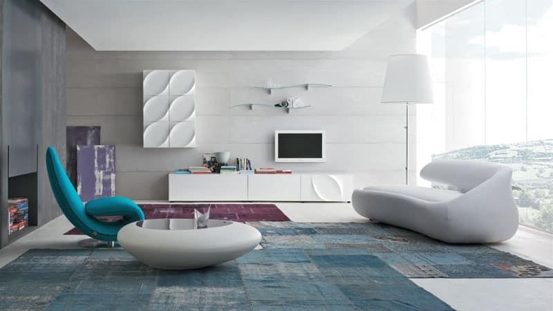 Mobile salotto con geometrie lineari decori for Zona living design