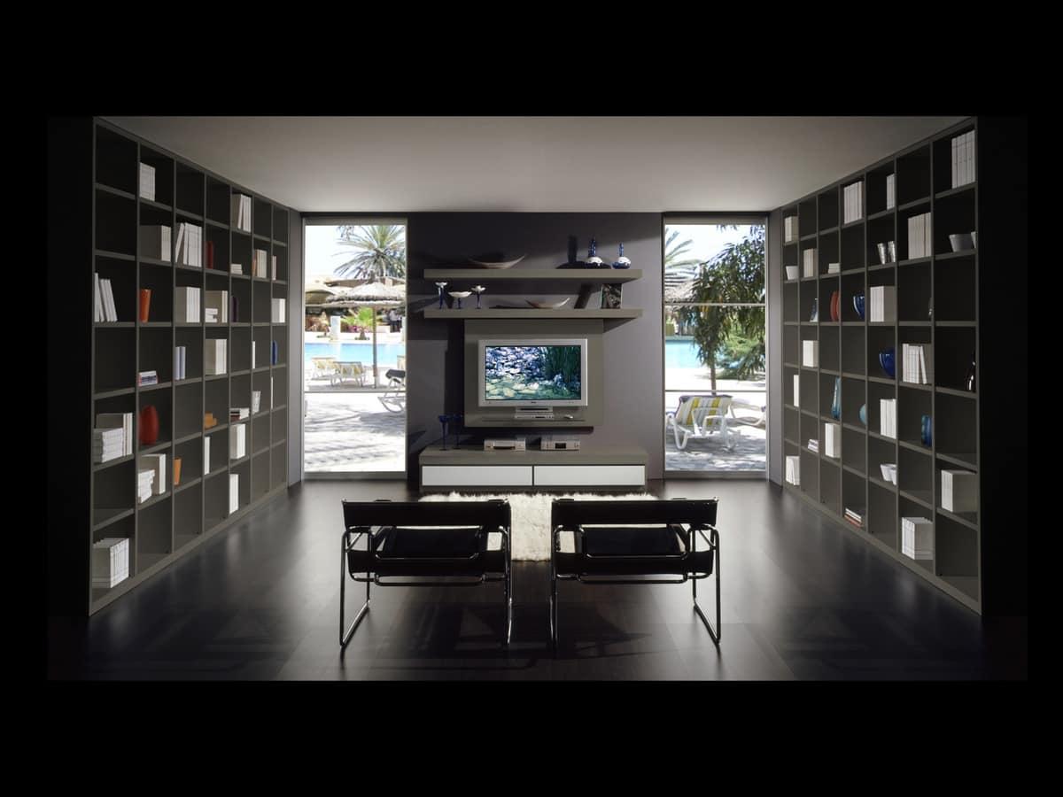 Giorno Libreria 10, Arredo componibile per salotti, customizzabile in dimensioni