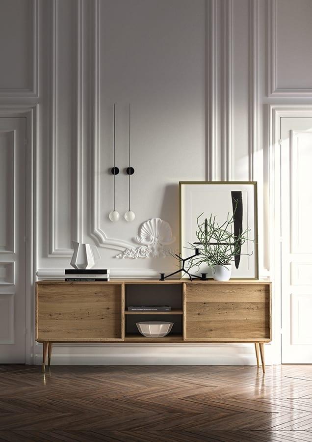 Credenza in legno impiallacciato rovere idfdesign for Madia per soggiorno
