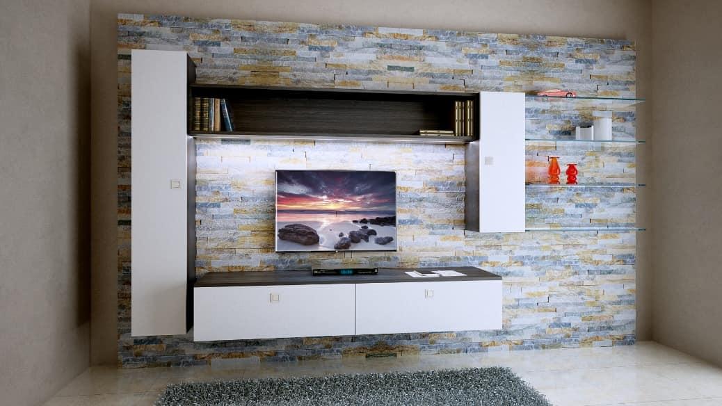 Boiserie per soggiorno in roccia, con mobili pensili | IDFdesign