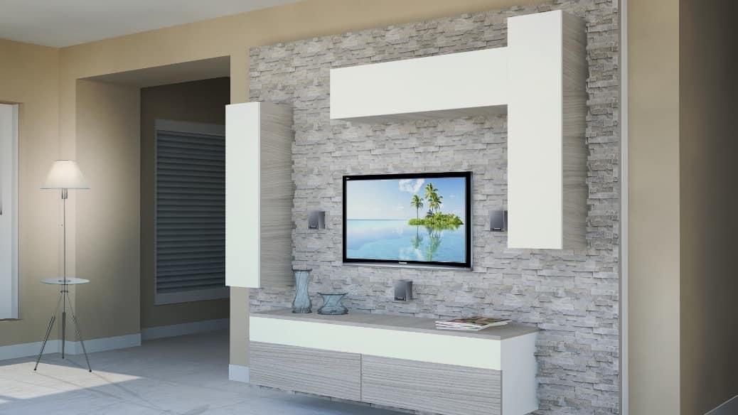 Mobile da soggiorno con pannellatura in roccia idfdesign for Soggiorno milano