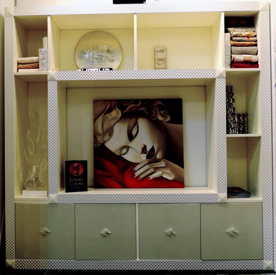 Parete attrezzata per soggiorno, realizzabile su misura | IDFdesign