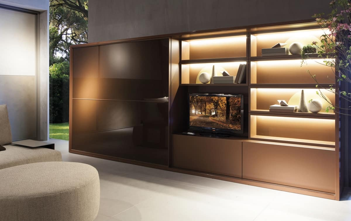 Sistema salotto con armadio libreria e vano tv idfdesign