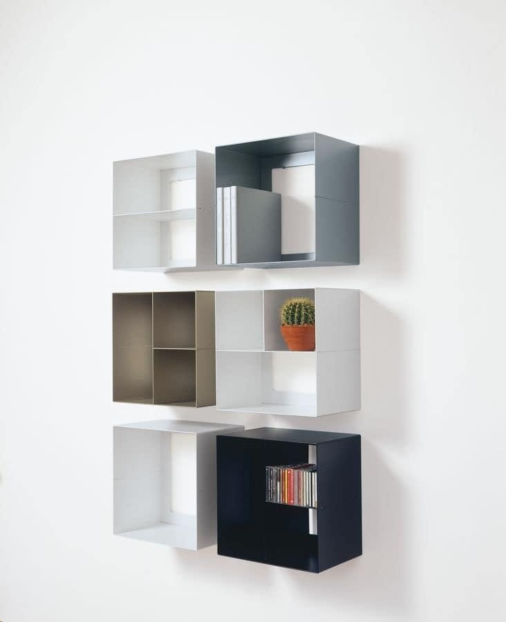 Elementi contenitori a parete in acciaio ideali per for Mobili contenitori per soggiorno