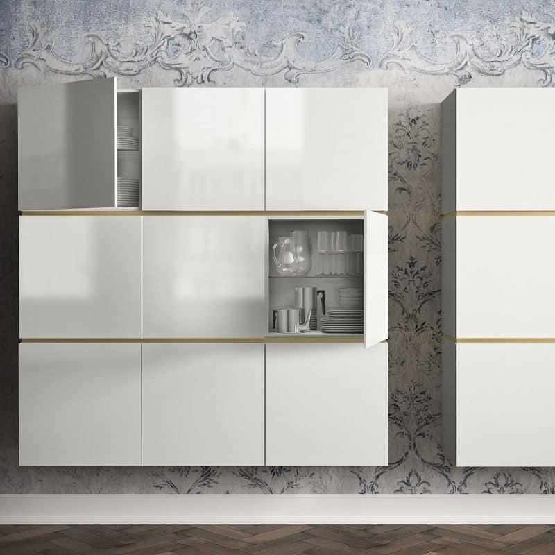 Credenza moderna, in metallo e legno, con vetrina | IDFdesign