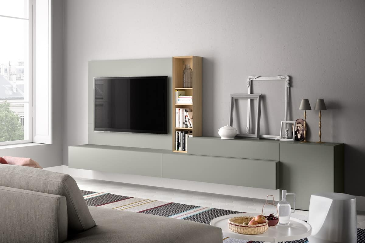 Parete attrezzata per soggiorno moderno in legno idfdesign for Mobili per soggiorno