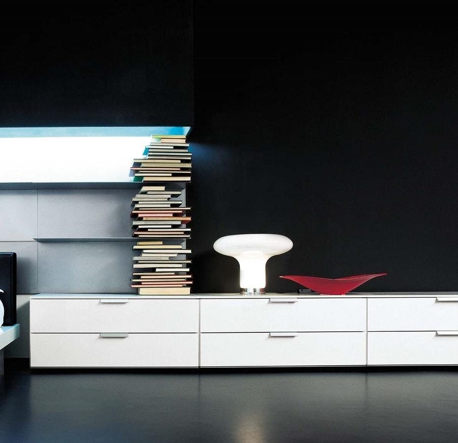 Mobile basso a cassetti in stile essenziale per soggiorno for Mobile basso ufficio