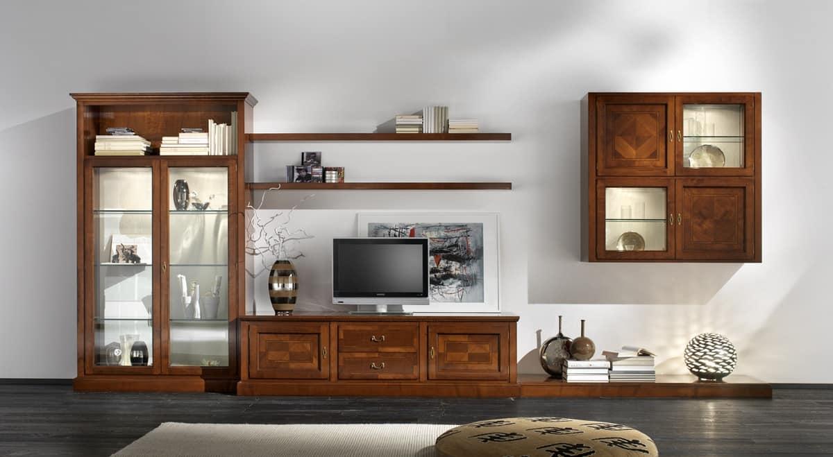 Mobile per soggiorno, maniglie in ottone, in ciliegio | IDFdesign