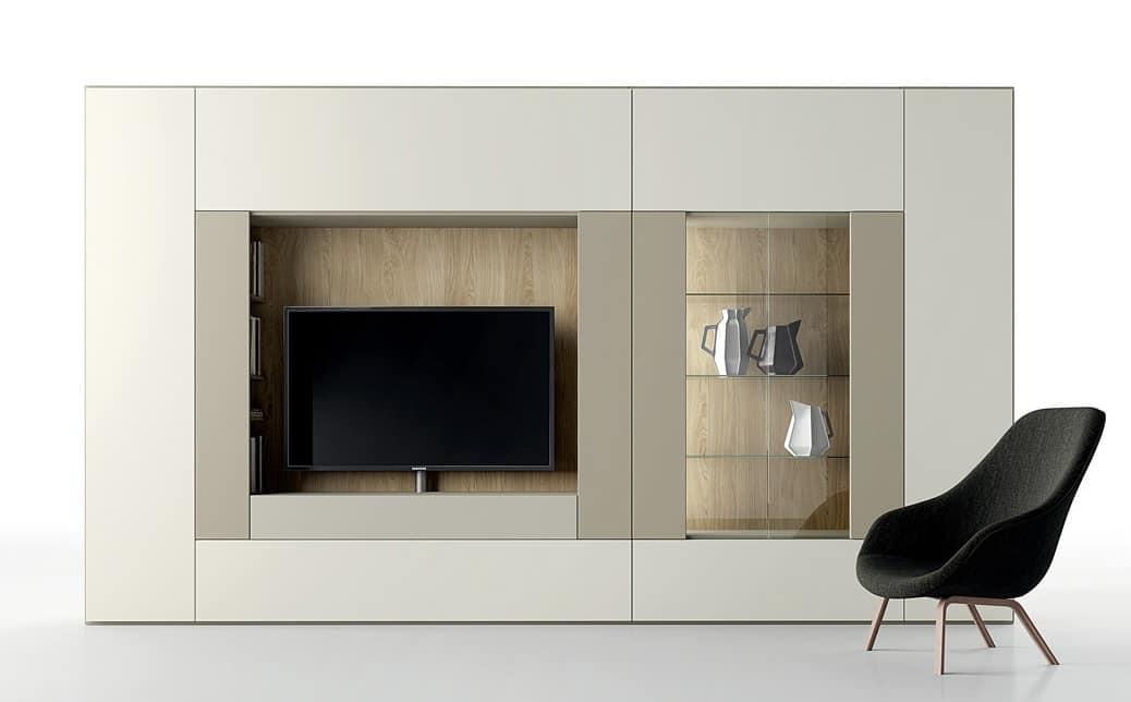 Composizione di mobili per salotto con porta tv e vetrina for Pareti attrezzate salotto