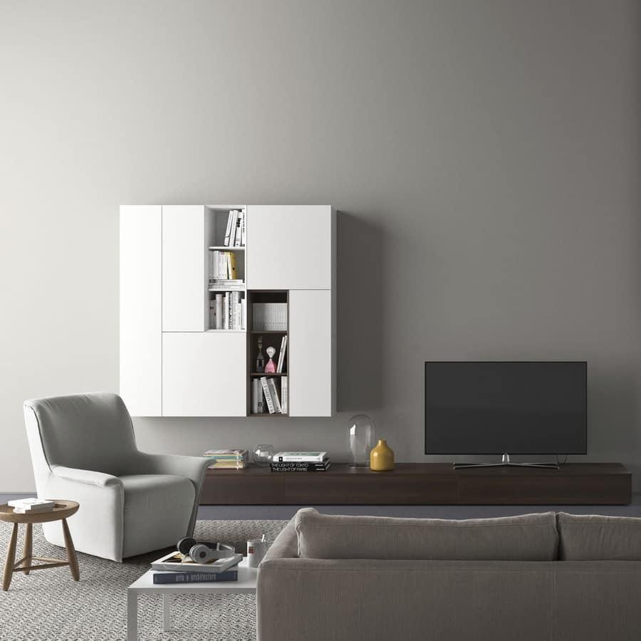 Parete attrezzata con porta tv, con illuminazione  IDFdesign