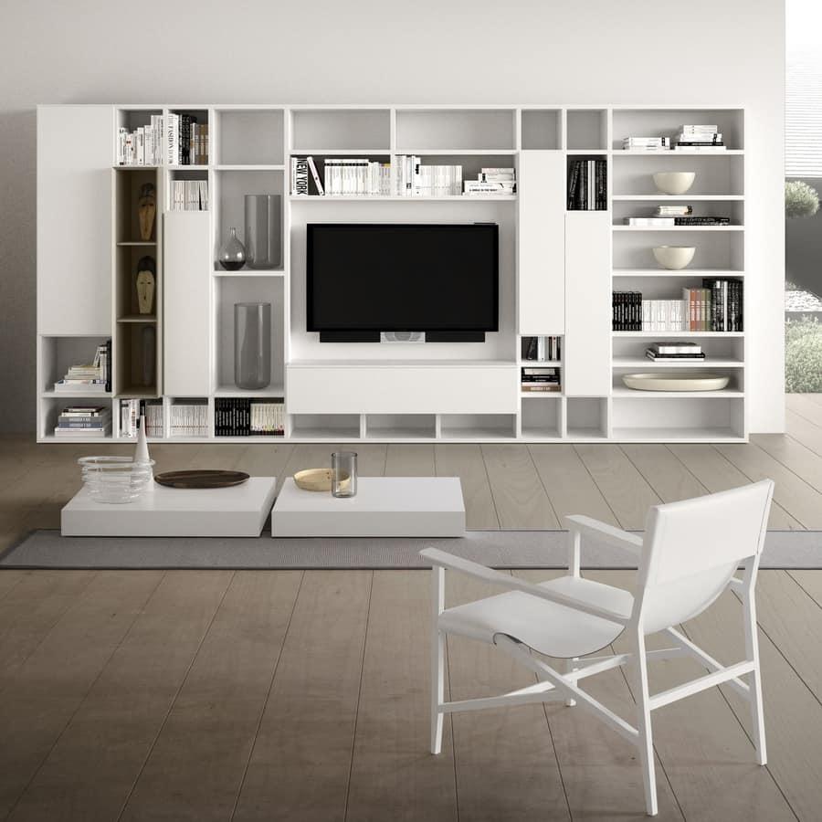 Sistema modulare per salotto moderno in legno idfdesign for Mobili salotto design