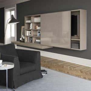 Spazioteca SP015, Sistema modulare per salotto, in legno, con hi-fi