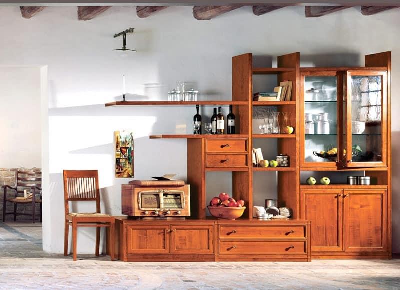 Mobile componibile per soggiorno in legno su misura for Immagini mobili soggiorno