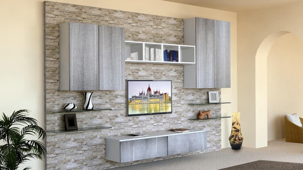 mobile da soggiorno con parete rivestita in pietra