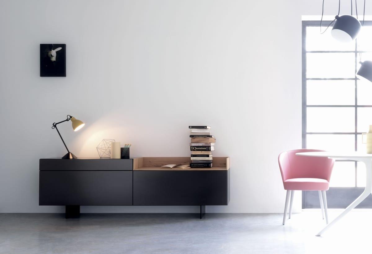 Mobile da soggiorno in laccato opaco nero | IDFdesign