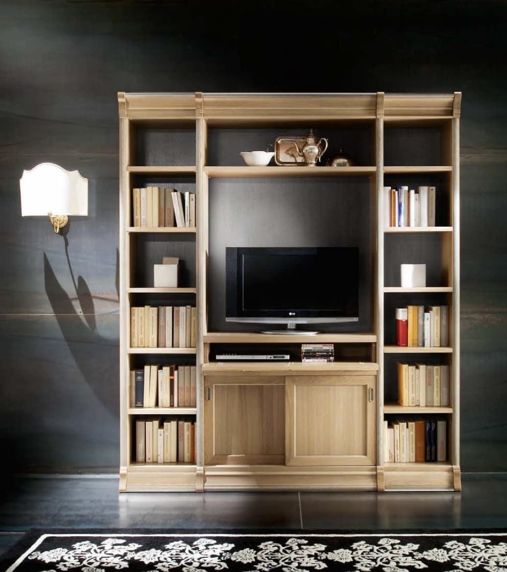 Porta tv con libreria con 2 ante scorrevoli e ribalta - Libreria con porta ...