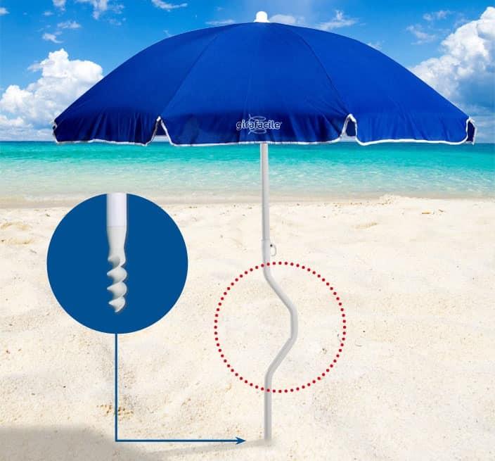 Ombrellone spiaggia brevettato Girafacile – GF180COT, Ombrellone ad avvitamento per spiaggia