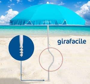 Ombrellone spiaggia brevettato Girafacile � GF180COT, Ombrellone ad avvitamento per spiaggia
