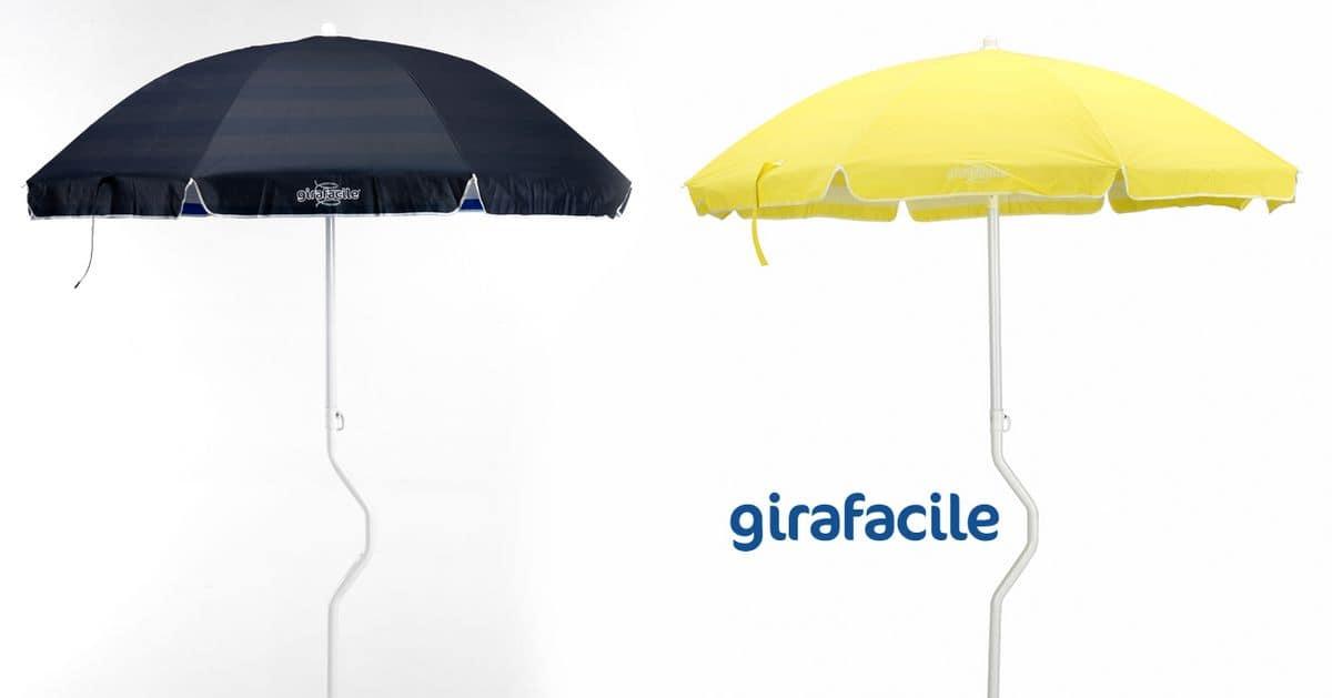 Ombrellone spiaggia brevettato Girafacile – GF200COT, Ombrellone massima protezione solare per spiaggia