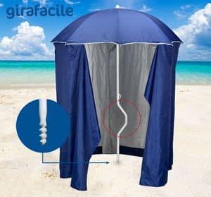 Ombrellone spiaggia brevettato Girafacile � GF200TUV, Ombrellone con tenda protezione raggi UV adatto per la spiaggie